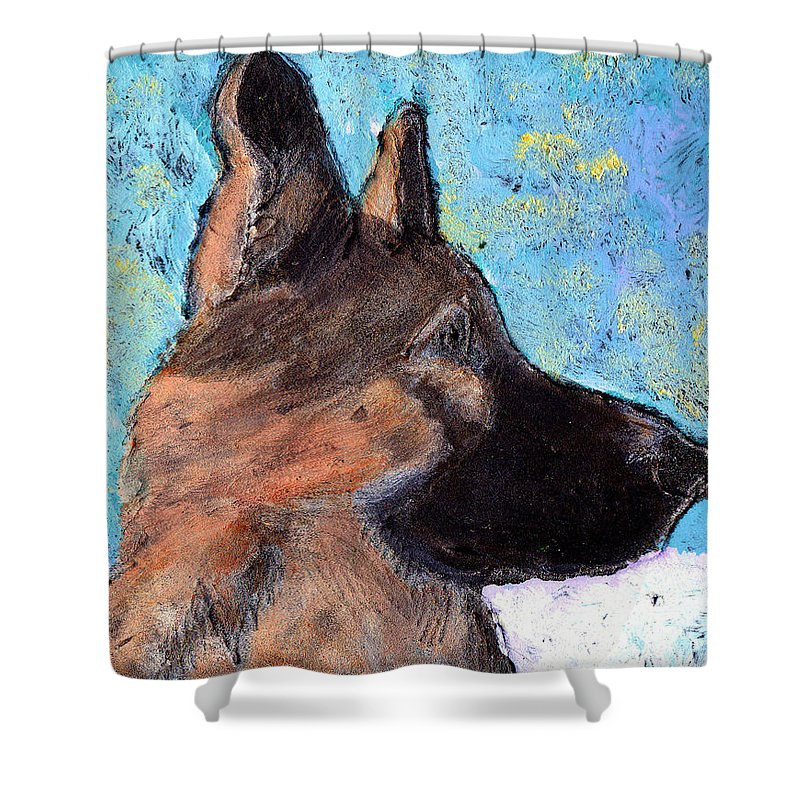 Dog Shower Curtain featuring the painting Sarge II by Wayne Potrafka