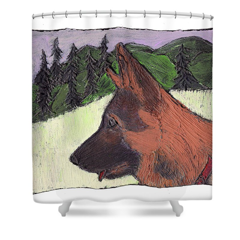 Dog Shower Curtain featuring the painting Sarge by Wayne Potrafka