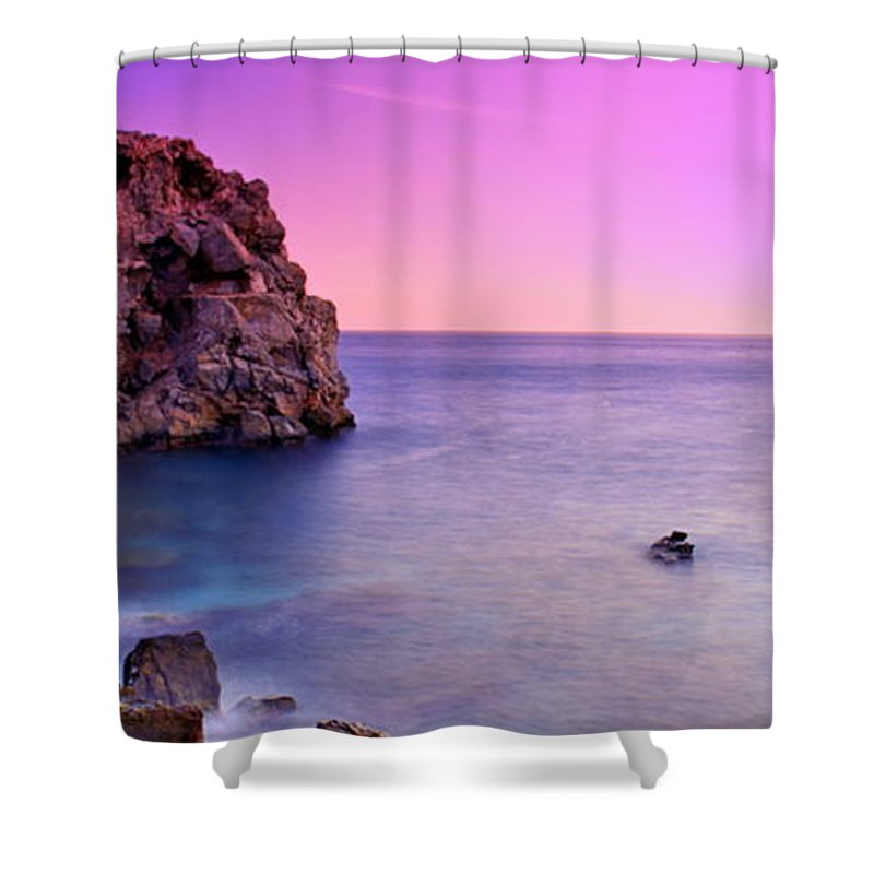 Photo Shower Curtain Featuring The Photograph Saturated Beach Landscape In A Sunset By HQ