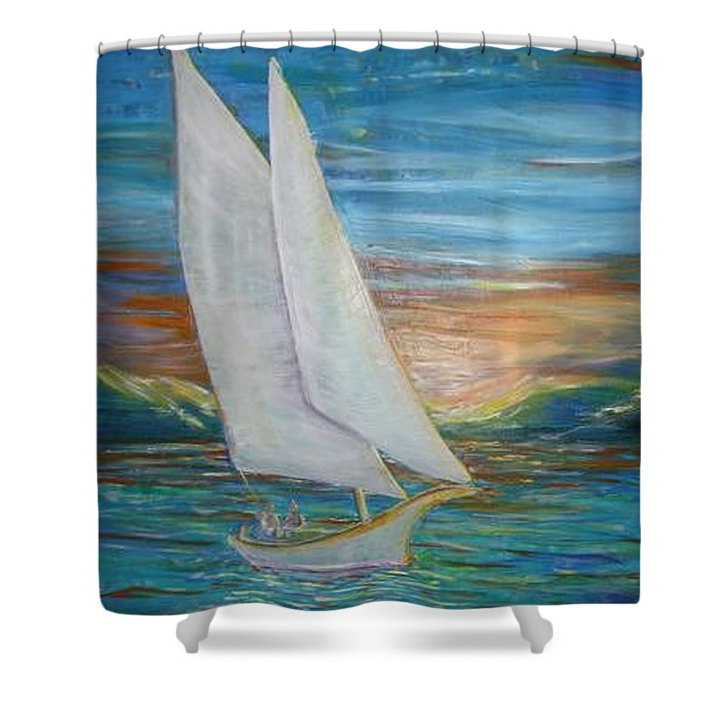 Sailboat Shower Curtain featuring the painting Saturday Sail by Regina Walsh