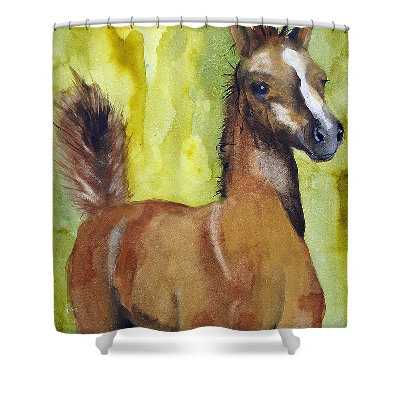 Filly Shower Curtain featuring the painting Saucy by Jean Blackmer