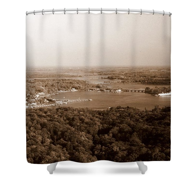Saugatuck Shower Curtain featuring the photograph Saugatuck Michigan Harbor Aerial Photograph by Michelle Calkins