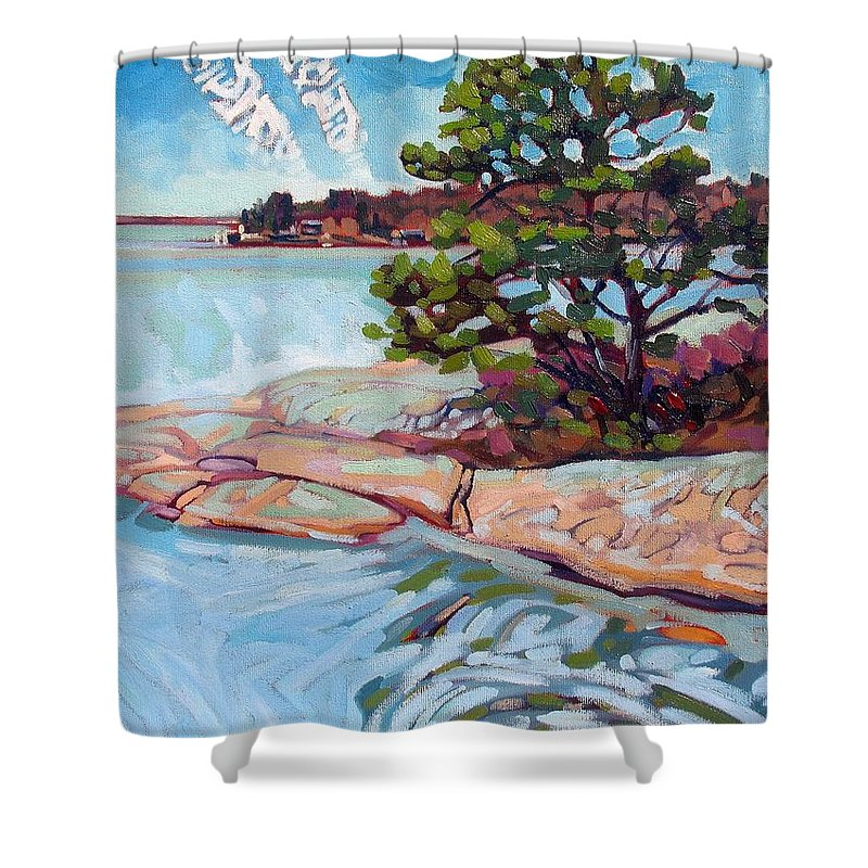 Savage Shower Curtain featuring the painting Savage Contrails by Phil Chadwick