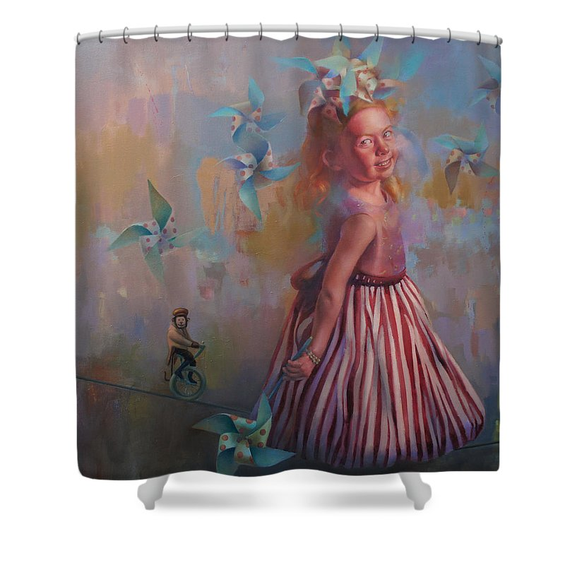 Figurative Shower Curtain featuring the painting Savanah At Play by Cathy Locke