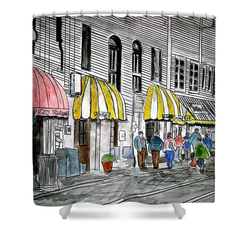 Cityscape Shower Curtain featuring the painting Savannah Georgia River Street 2 Painting Art by Derek Mccrea