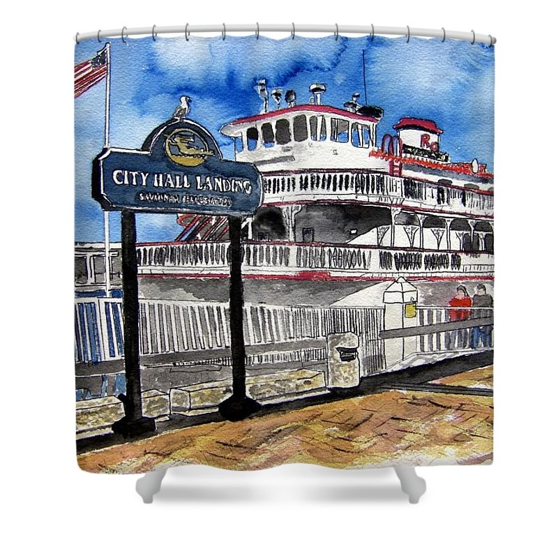 Savannah Shower Curtain featuring the painting Savannah River Queen Boat Georgia by Derek Mccrea