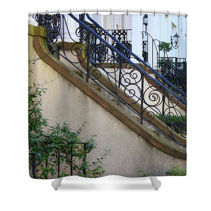 Wrought Iron Shower Curtain featuring the photograph Savannah Stairs by Carol Groenen
