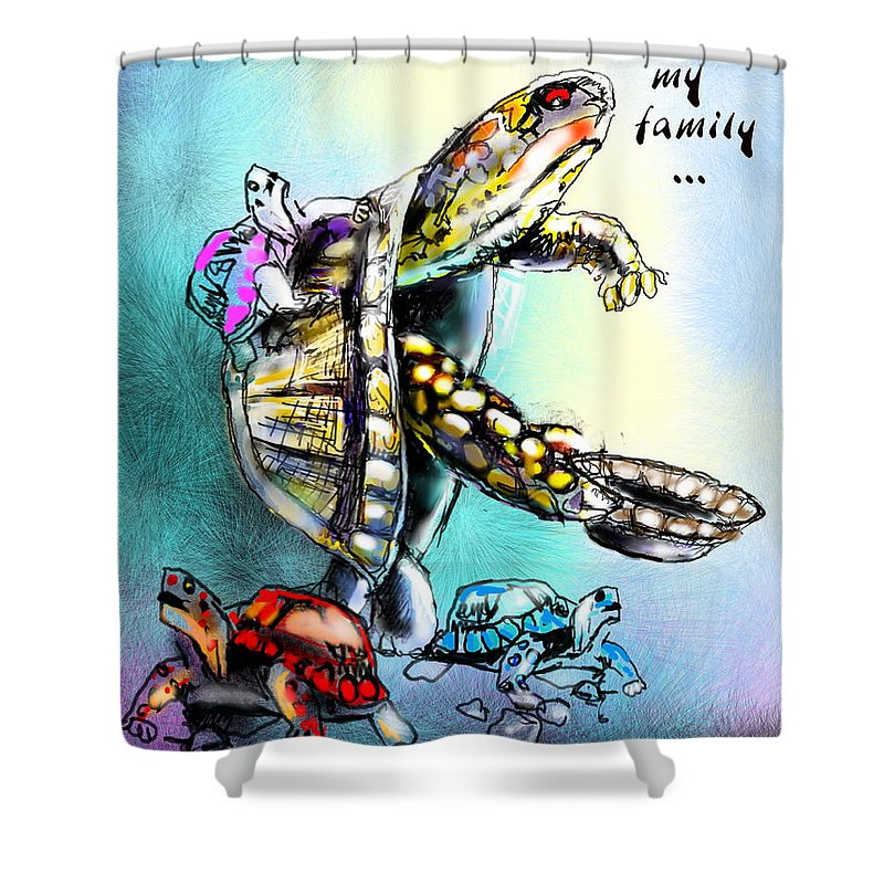 Turtle Painting Shower Curtain featuring the digital art Save My Family by Miki De Goodaboom