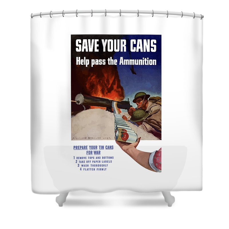 Battlefield Shower Curtain featuring the painting Save Your Cans - Help Pass The Ammunition by War Is Hell Store