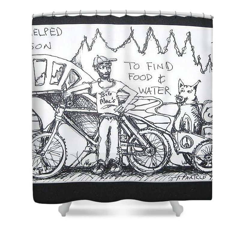 Bike Homeless Shower Curtain featuring the drawing Saved By Dog by Todd Artist