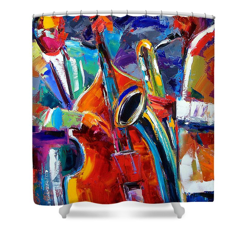 Jazz Painting Shower Curtain featuring the painting Sax And Bass by Debra Hurd