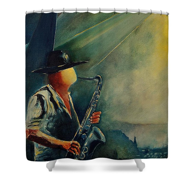 Music Shower Curtain featuring the painting Sax Player by Pol Ledent