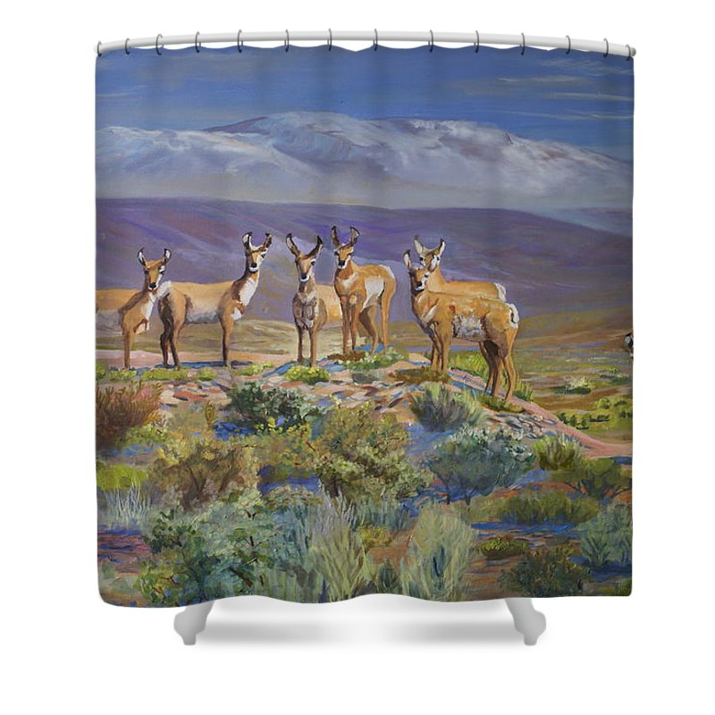 Antelope Shower Curtain featuring the painting Say Cheese Antelope by Heather Coen