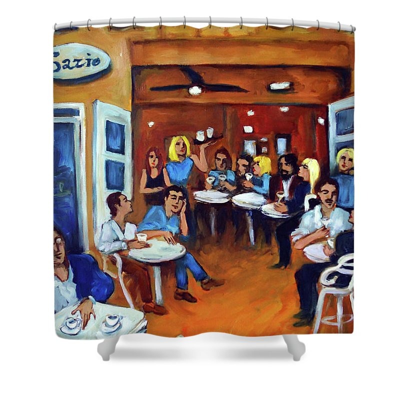 Sidewalk Cafe Shower Curtain featuring the painting Sazio by Valerie Vescovi