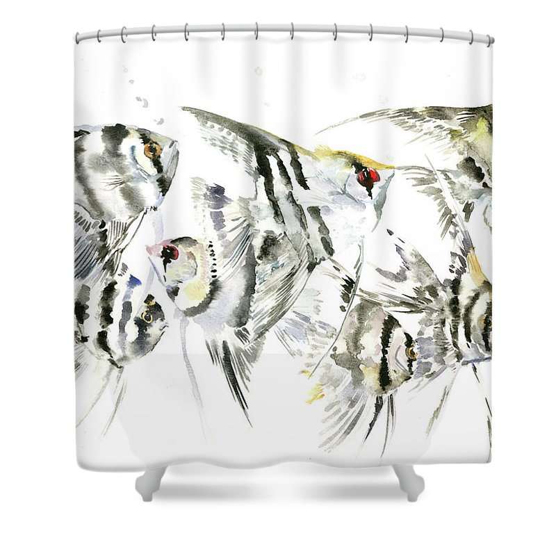 Fish Shower Curtain Featuring The Painting Scalar Anbelfish Aquarium By Suren Nersisyan