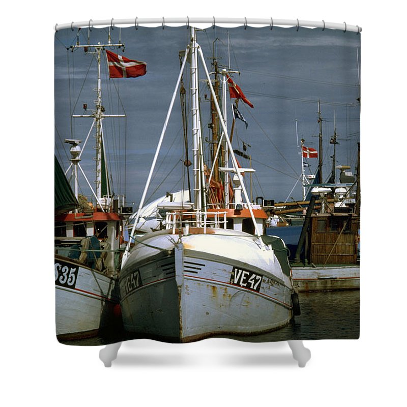 Scandinavian Shower Curtain featuring the photograph Scandinavian Fisher Boats by Flavia Westerwelle