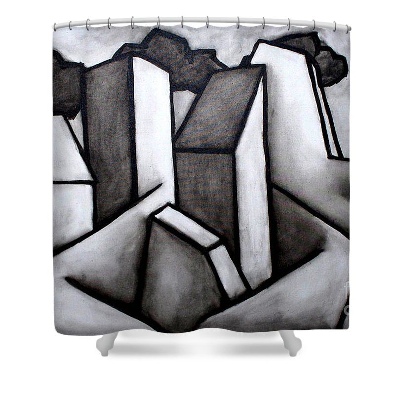 Absract Shower Curtain featuring the painting Scape by Thomas Valentine
