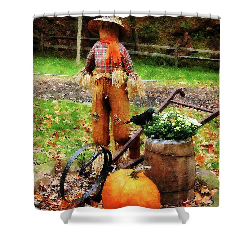 Autumn Shower Curtain featuring the photograph Scarecrow And Pumpkin by Susan Savad