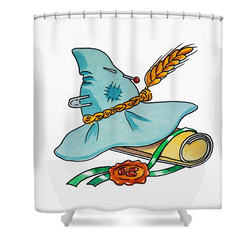 Wizard Of Oz Shower Curtain Featuring The Painting Scarecrow Hat From By Irina