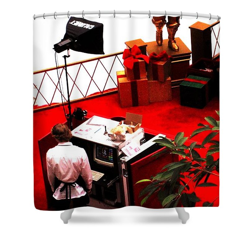 Christmas Shower Curtain featuring the photograph Scarey Old Guy In A Red Suit by Ian MacDonald