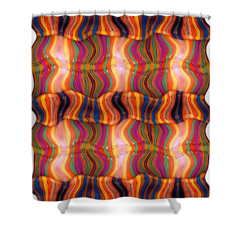 Abstract Shower Curtain featuring the digital art Scarf It Up by Ron Bissett