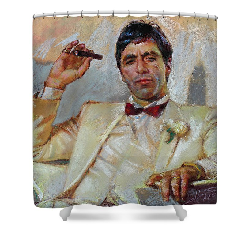 Scarface Shower Curtain featuring the pastel Scarface by Ylli Haruni
