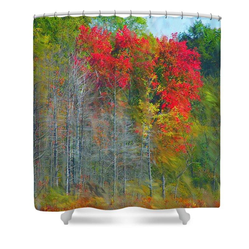 Landscape Shower Curtain featuring the digital art Scarlet Autumn Burst by David Lane