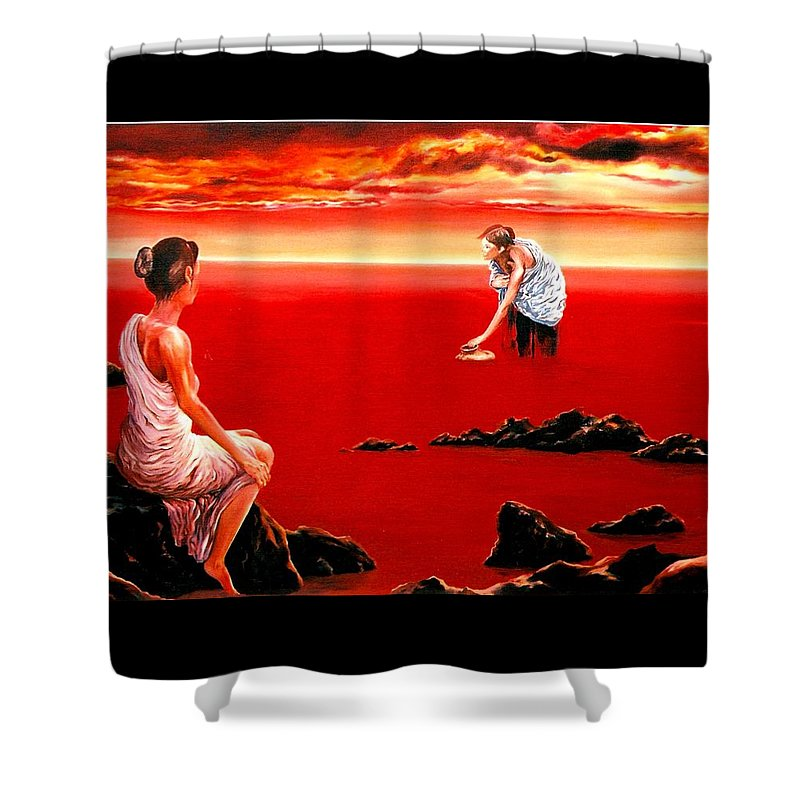 Red Shower Curtain featuring the painting Scarlet Evening In December by Mark Cawood