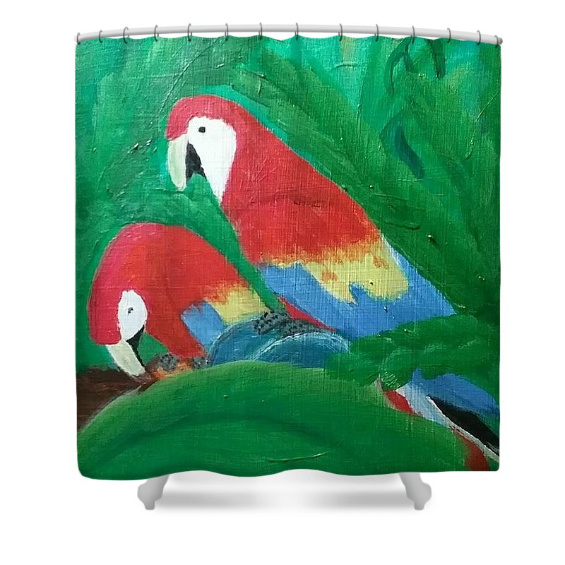 Macaws Shower Curtain featuring the painting Scarlet Macaws by Melissa Suzanne Ryan