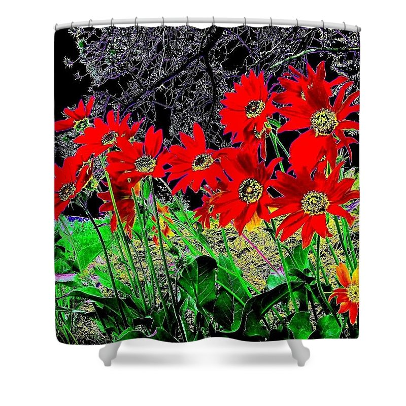 Abstract Shower Curtain featuring the digital art Scarlet Night by Will Borden