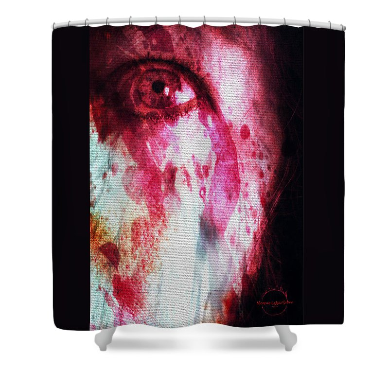 Eyes Shower Curtain featuring the digital art Scarlet Vision by Absinthe Art By Michelle LeAnn Scott