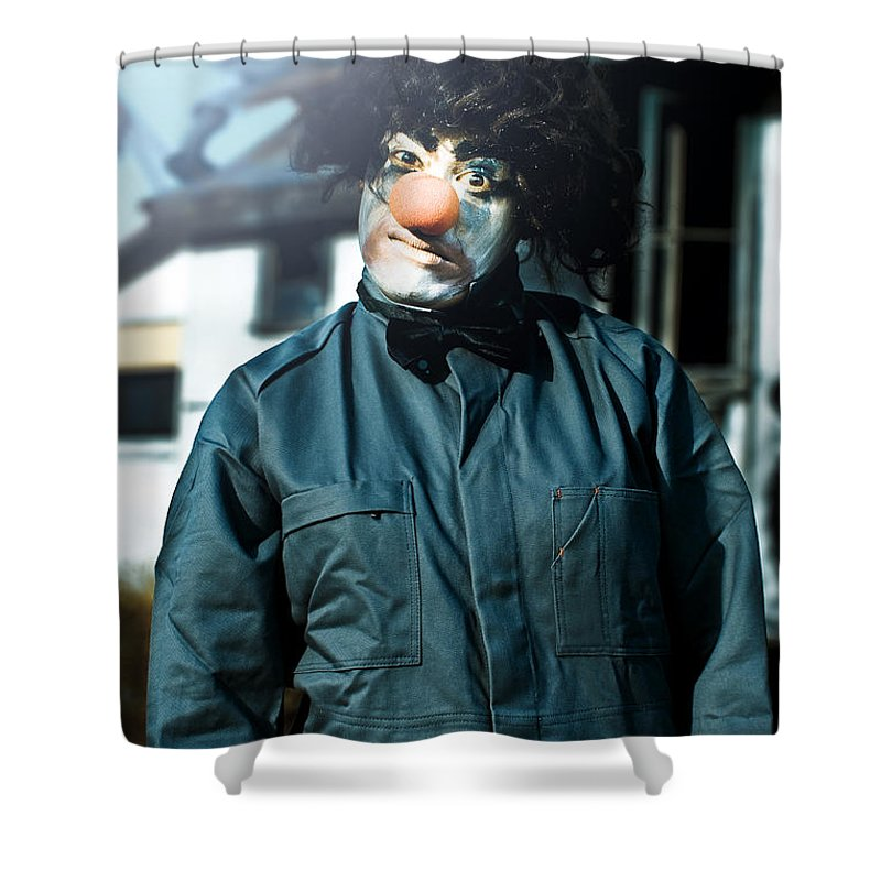 Adult Shower Curtain featuring the photograph Scary Clown With Coat by Jorgo Photography - Wall Art Gallery