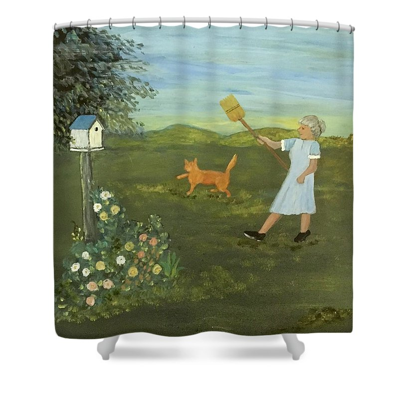 Cat Shower Curtain featuring the painting Scat Cat by Evelyn Skinner
