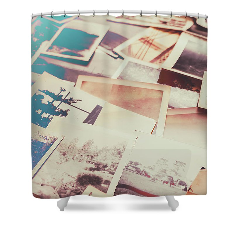 Old Shower Curtain featuring the photograph Scattered Collage Of Old Film Photography by Jorgo Photography - Wall Art Gallery