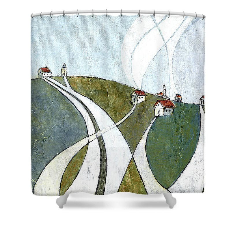 Painting Shower Curtain featuring the painting Scattered Houses by Aniko Hencz