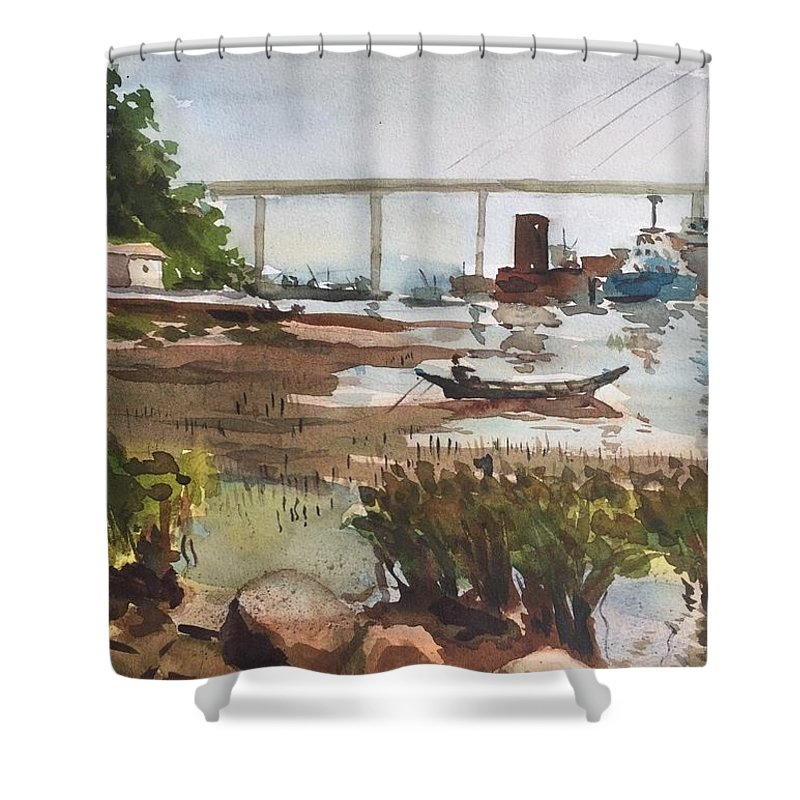 Scene Beside The Water Shower Curtain featuring the painting Scene Beside Inlet by Ken Bao--Fine Art Spring