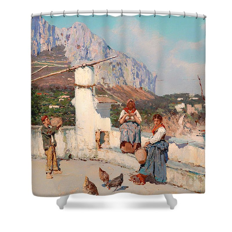Painting Shower Curtain featuring the painting Scene From Capri by Mountain Dreams
