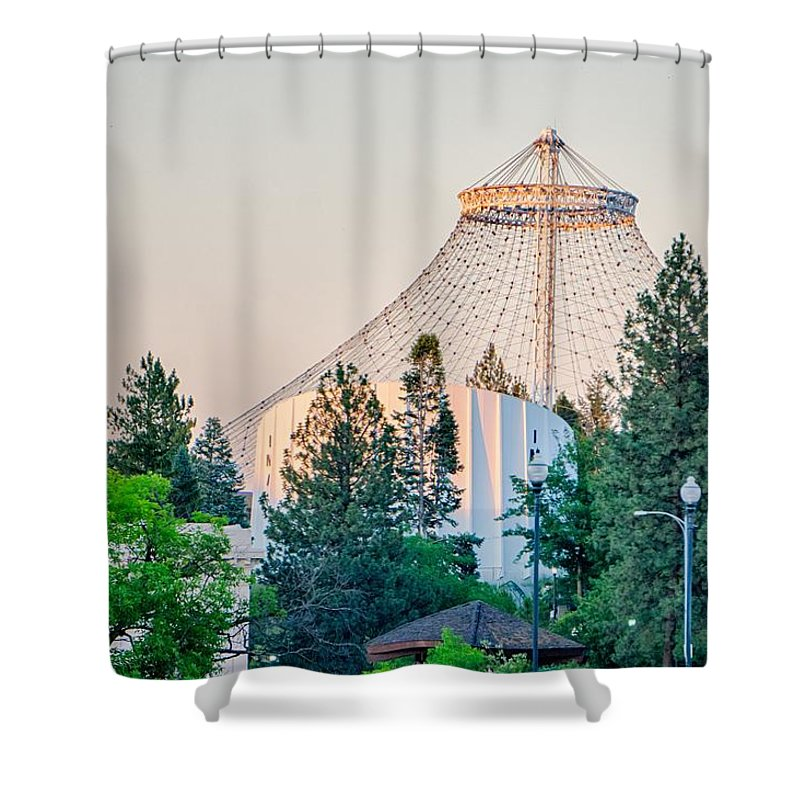 River Shower Curtain featuring the photograph Scenes Around Spokane Washington Downtown by Alex Grichenko