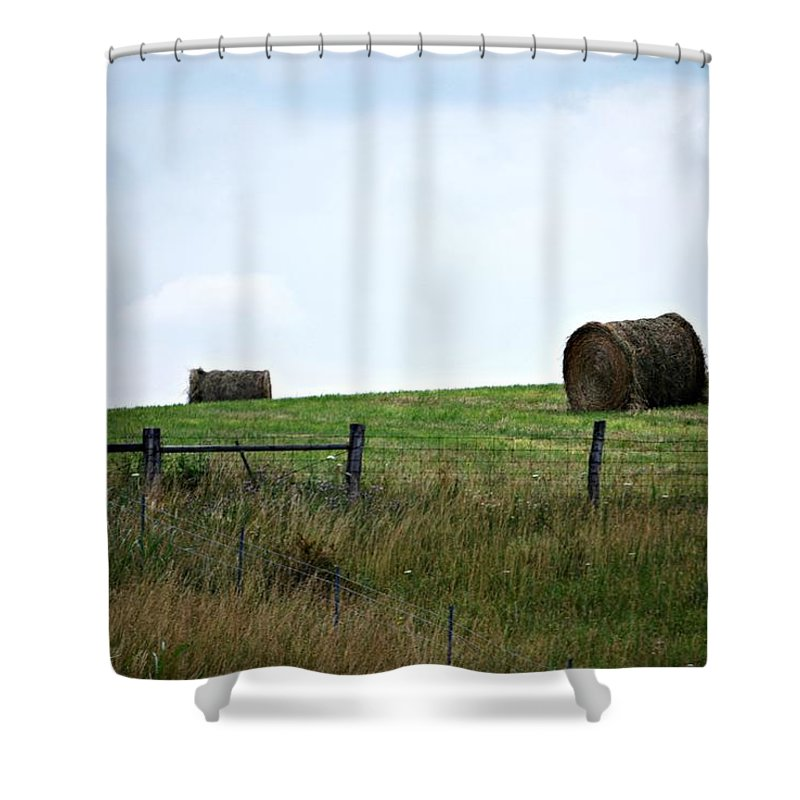 Haybail Shower Curtain featuring the photograph Scenic Haybales #1 by Barbara Woodson