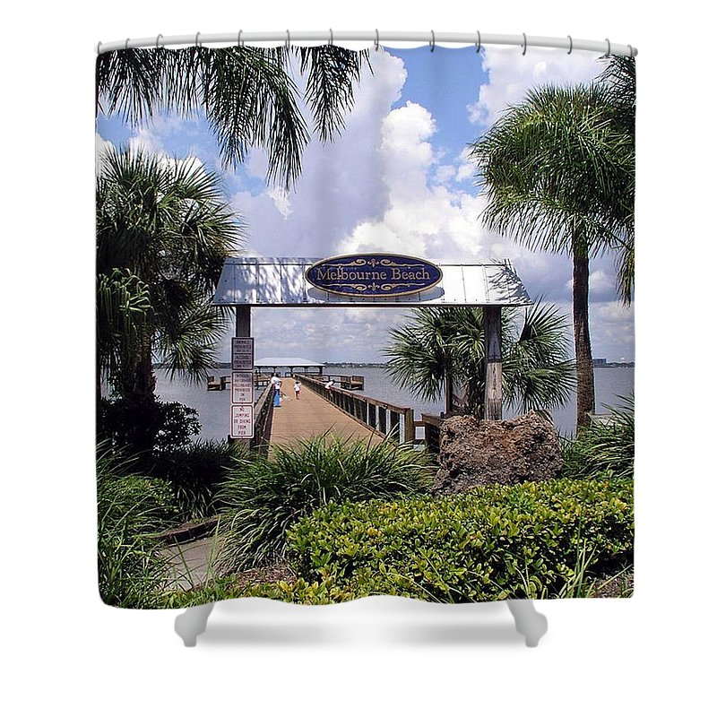 Melbourne Beach; Melbourne; Beach; Florida Usa; Brevard; Pier; Wharf; Scenic; River; Indian; Clouds; Shower Curtain featuring the photograph Scenic Melbourne Beach Pier Florida by Allan Hughes