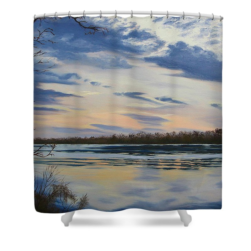 Clouds Shower Curtain featuring the painting Scenic Overlook - Delaware River by Lea Novak