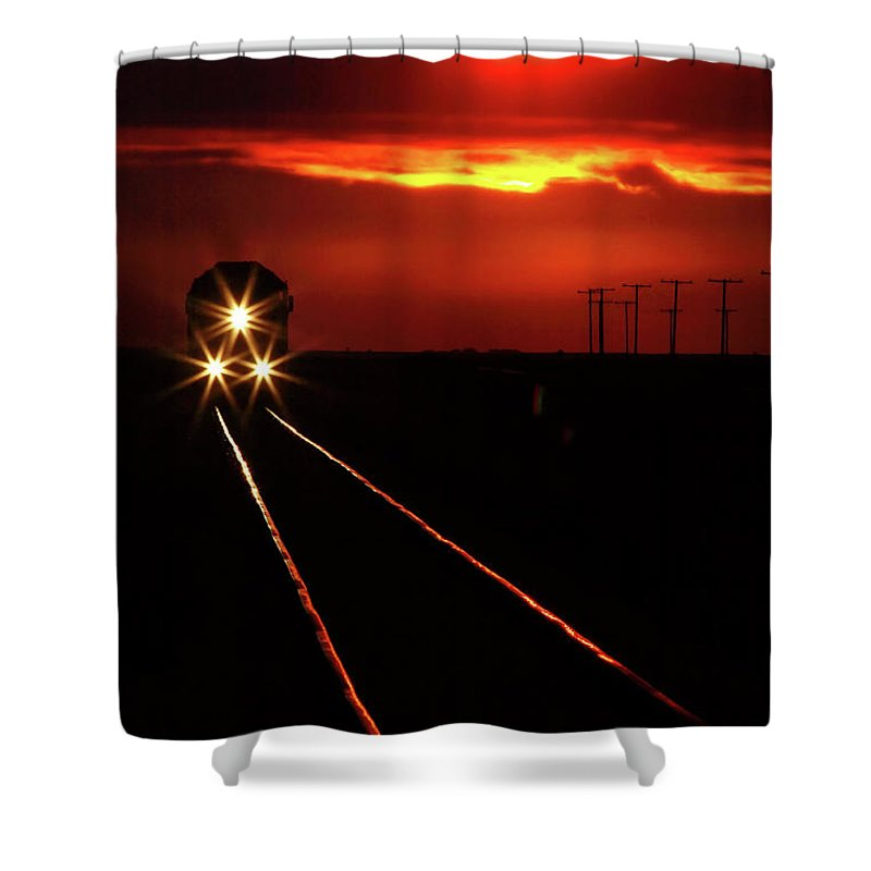 Sunset Shower Curtain featuring the digital art Scenic View Of An Approaching Trrain Near Sunset by Mark Duffy