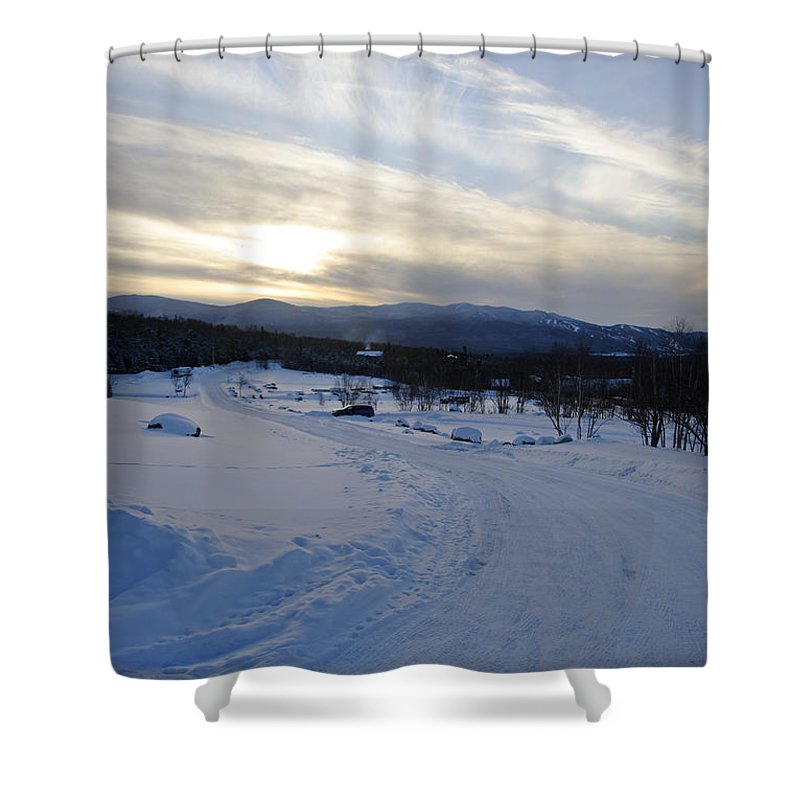 Winter Shower Curtain featuring the photograph Scenic Vista From Marshfield Station In The White Mountains New Hampshire Usa by Erin Paul Donovan