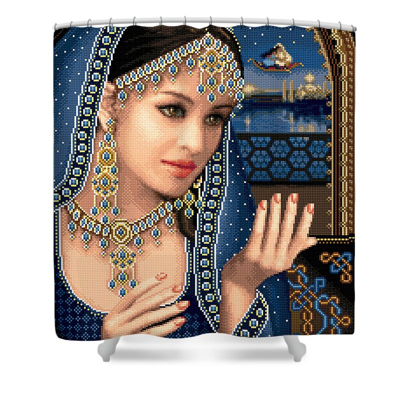 Eastern Beauty Shower Curtain featuring the tapestry - textile Scheherazade by Stoyanka Ivanova