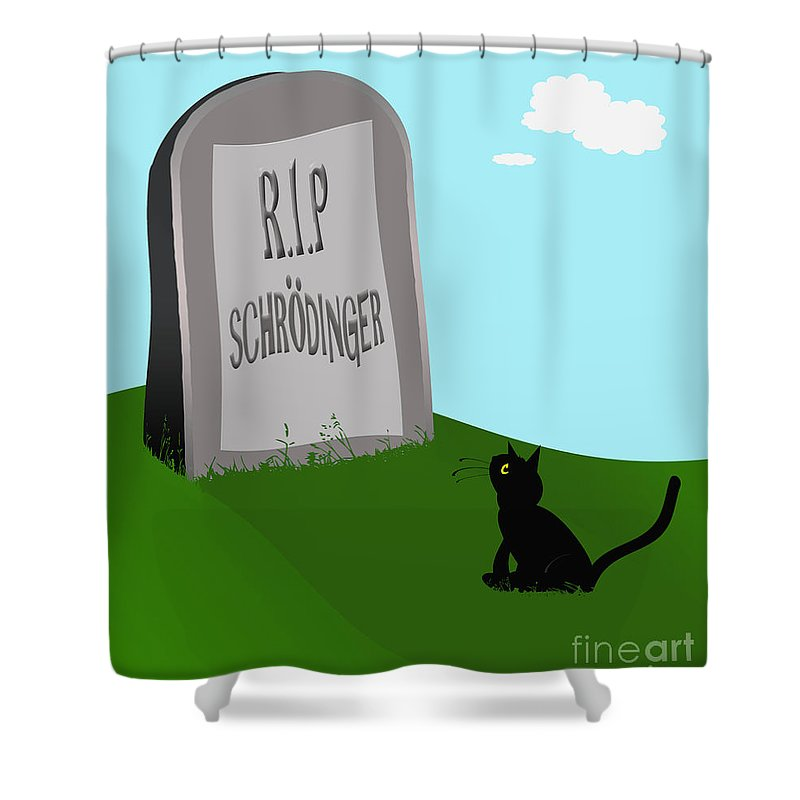 Alive Shower Curtain featuring the digital art Schoedingers Cat 1 - Schroedinger 0 by Richard Wareham