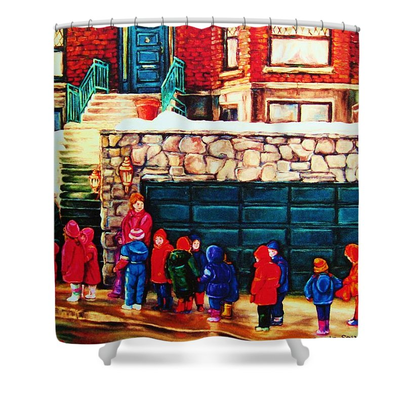 Montreal Streetscenes Shower Curtain featuring the painting Schools Out by Carole Spandau