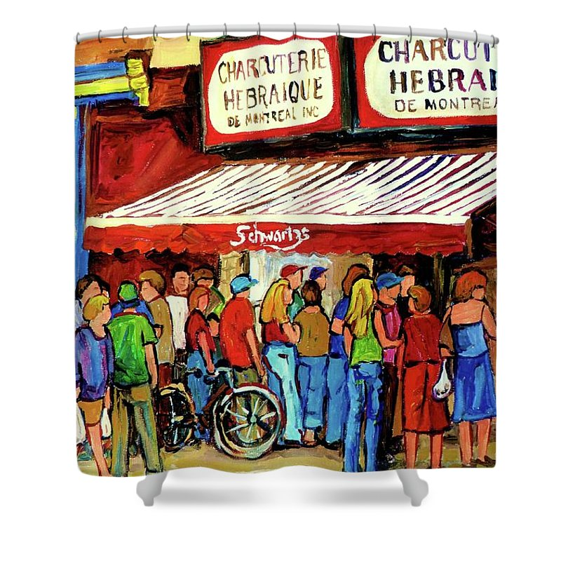 Schwartz Deli Shower Curtain featuring the painting Schwartzs Deli Lineup by Carole Spandau