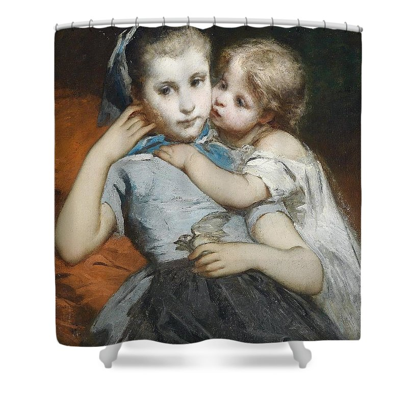 Thomas Couture (attr) Schwestern Shower Curtain featuring the painting Schwestern by MotionAge Designs