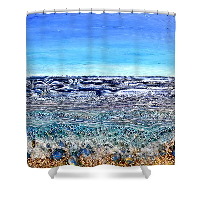 Sea Shower Curtain Featuring The Painting Scintillated Seascape By Regina Valluzzi