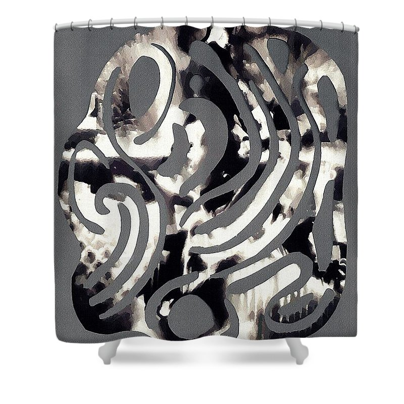 Curve Shower Curtain featuring the mixed media Scissor-cut Abstraction by Sarah Loft